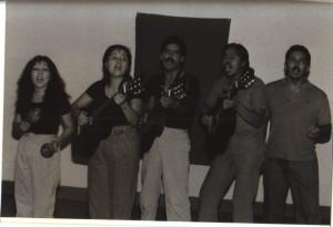 Singing teatristas include Sherry Coca Candelaria, Debra Gallegos, Rudy Bustos, Tony Garcia.