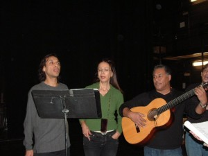 Jesse Borrego, Rosanna de Soto and Daniel Valdez practice to perform in The Westside Oratorio